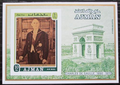 Poštovní známka Adžmán 1971 Charles de Gaulle neperf. Mi# Block 321 B Kat 14€