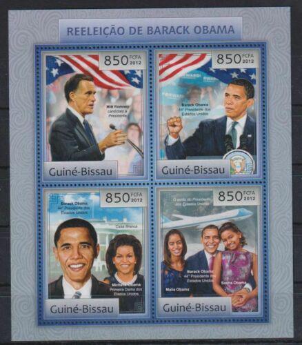 Poštovní známky Guinea-Bissau 2012 Prezident Barack Obama Mi# 6367-70 Kat 14€