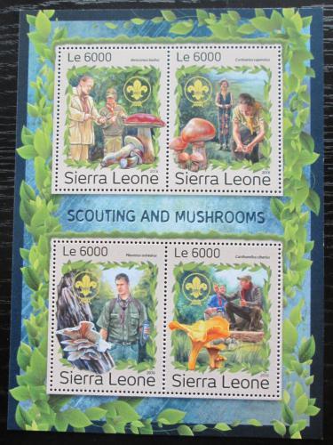 Poštovní známky Sierra Leone 2016 Houby a skauti Mi# 7913-16 Kat 11€
