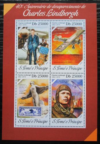 Poštovní známky Svatý Tomáš 2014 Charles Lindbergh, letadla Mi# 5539-42 Kat 10€