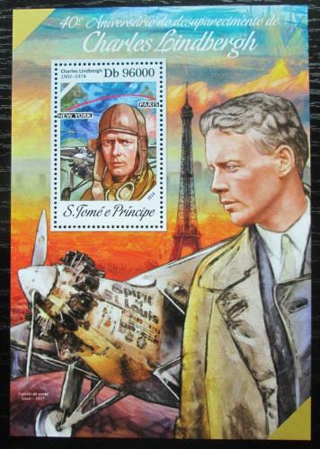 Poštovní známka Svatý Tomáš 2014 Charles Lindbergh, letadla Mi# Block 967 Kat 10€