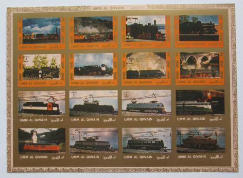 Poštovní známky Umm al-Kuvajn 1972 Lokomotivy neperf. Mi# 1210-25 B Kat 25€