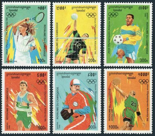 Poštovní známky Kambodža 1996 LOH Atlanta Mi# 1555-60 Kat 10€