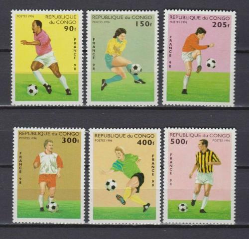 Poštovní známky Kongo 1996 MS ve fotbale Mi# 1444-49 Kat 9€