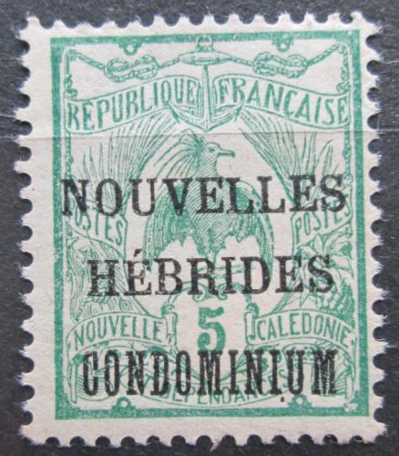 Poštovní známka Nové Hebridy 1910 Kagu chocholatý pøetisk Mi# 15 Kat 4€