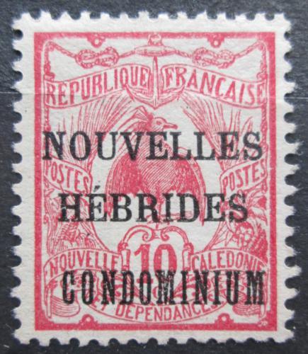 Poštovní známka Nové Hebridy 1910 Kagu chocholatý pøetisk Mi# 16 Kat 4€