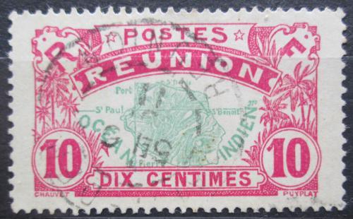 Poštovní známka Reunion 1907 Mapa ostrova Mi# 60
