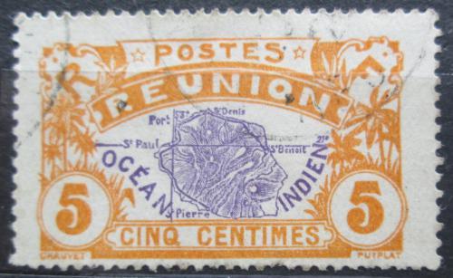 Poštovní známka Reunion 1922 Mapa ostrova Mi# 90