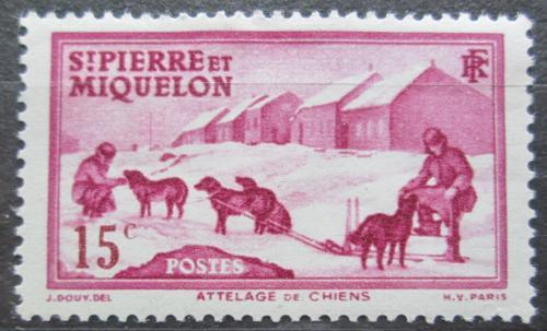 Poštovní známka St. Pierre a Miquleon 1938 Psí spøežení Mi# 175
