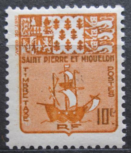 Poštovní známka St. Pierre a Miquleon 1947 Rybáøská loï, doplatní Mi# 67