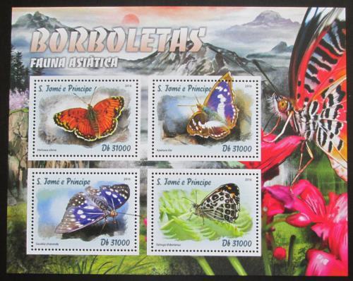 Poštovní známky Svatý Tomáš 2016 Asijští motýli Mi# 6751-54 Kat 12€