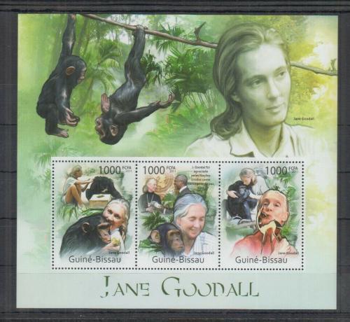 Poštovní známky Guinea-Bissau 2011 Jane Goodall a šimpanzi Mi# 5673-75 Kat 12€
