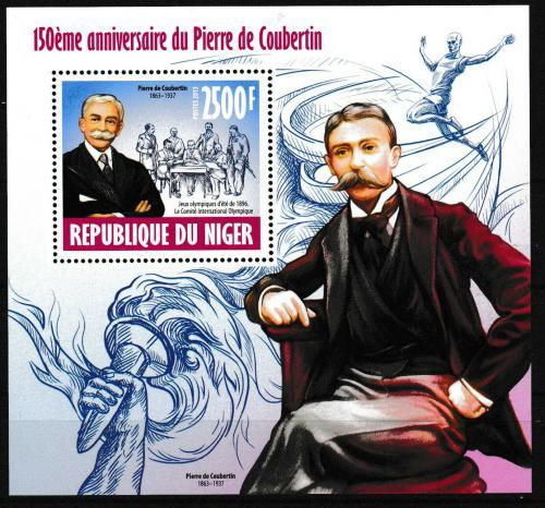 Poštovní známka Niger 2013 Pierre de Coubertin Mi# Block 236 Kat 10€