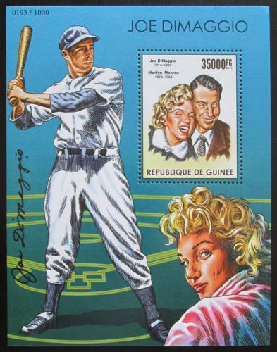 Poštovní známka Guinea 2015 Joe DiMaggio a Marilyn Monroe Mi# Block 2567 Kat 14€