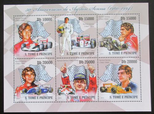 Poštovní známky Svatý Tomáš 2010 Ayrton Senna, Formule 1 Mi# 4327-30 Kat 10€