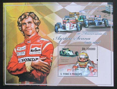 Poštovní známka Svatý Tomáš 2010 Ayrton Senna, Formule 1 Mi# Block 745 Kat 10€