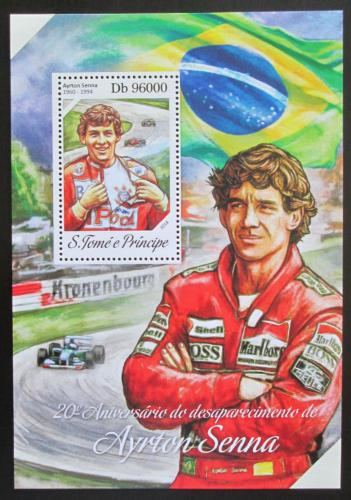 Poštovní známka Svatý Tomáš 2014 Ayrton Senna, Formule 1 Mi# Block 969 Kat 10€