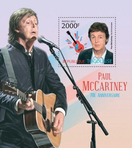 Poštovní známka Togo 2012 Paul McCartney, The Beatles Mi# Block 726 Kat 8€