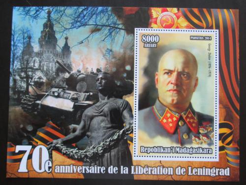 Poštovní známka Madagaskar 2014 Osvobození Leningradu, Maršál Žukov Mi# N/N