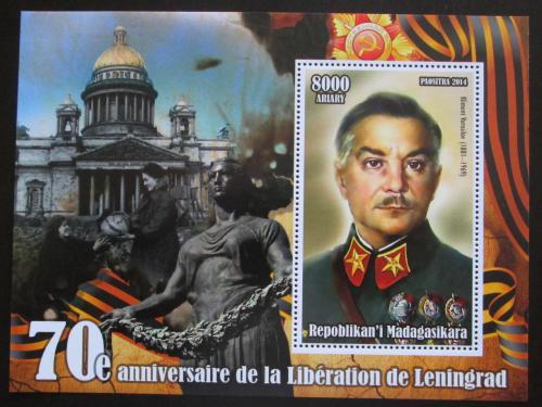 Poštovní známka Madagaskar 2014 Osvobození Leningradu, Maršál Vorošilov Mi# N/N