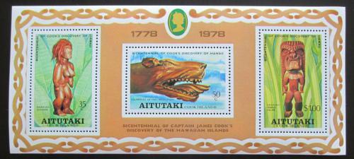Poštovní známky Aitutaki 1978 Døevoøezby Mi# Block 18