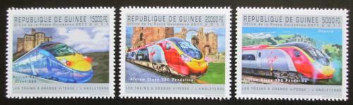 Poštovní známky Guinea 2011 Anglické moderní lokomotivy Mi# 9022-24 Kat 16€