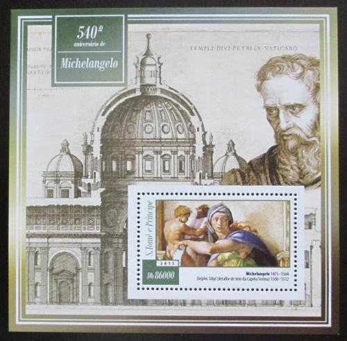 Poštovní známka Svatý Tomáš 2015 Umìní, Michelangelo Mi# Block 1052 Kat 8.50€