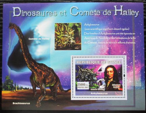 Poštovní známka Guinea 2007 Halleyova kometa a dinosauøi Mi# Block 1221
