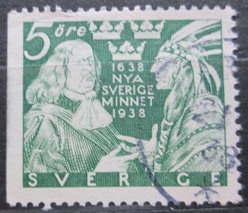 Poštovní známka Švédsko 1938 Guvernér Johan Printz a indián Mi# 245 Dl Kat 7€