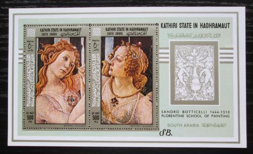Poštovní známky Aden Kathiri 1967 Umìní, Botticelli Mi# Block 18 A Kat 16€