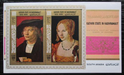 Poštovní známky Aden Kathiri 1968 Umìní, Albrecht Dürer Mi# Block 21 A Kat 16€