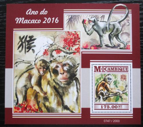 Poštovní známka Mosambik 2015 Èínský nový rok, rok opice Mi# Block 1094 Kat 10€