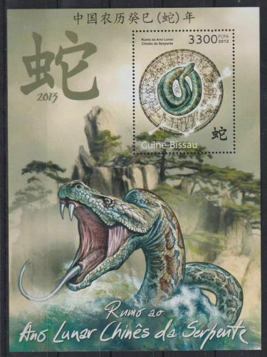 Poštovní známka Guinea-Bissau 2012 Èínský nový rok, rok hada Mi# Block 1120 Kat 13€