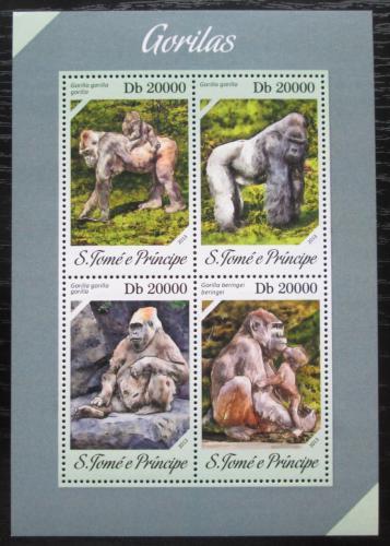 Poštovní známky Svatý Tomáš 2013 Gorily Mi# 5396-99 Bogen Kat 8€