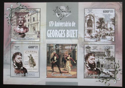 Poštovní známky Guinea-Bissau 2013 Georges Bizet, skladatel Mi# 6688-92 Kat 12€
