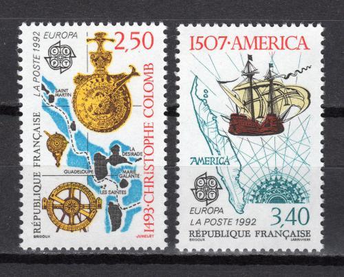 Poštovní známky Francie 1992 Evropa CEPT, objevení Ameriky Mi# 2899-2900 Kat 4.50€