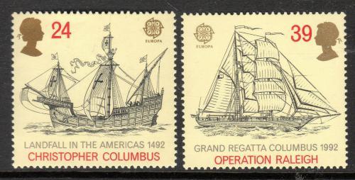 Poštovní známky Velká Británie 1992 Evropa CEPT, objevení Ameriky Mi# 1400-01 6€