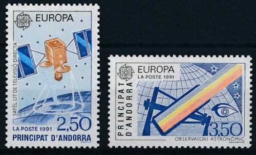 Poštovní známky Andorra Fr. 1991 Evropa CEPT, prùzkum vesmíru Mi# 423-24 Kat 12€