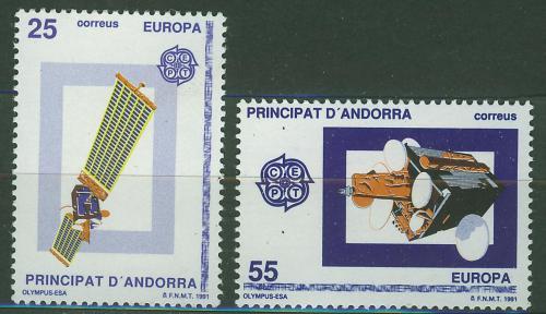 Poštovní známky Andorra Šp. 1991 Evropa CEPT, prùzkum vesmíru Mi# 221-22