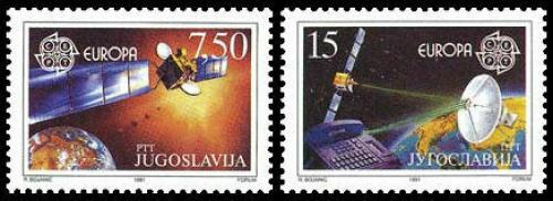 Poštovní známky Jugoslávie 1991 Evropa CEPT, prùzkum vesmíru Mi# 2476-77
