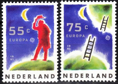 Poštovní známky Nizozemí 1991 Evropa CEPT, prùzkum vesmíru Mi# 1409-10