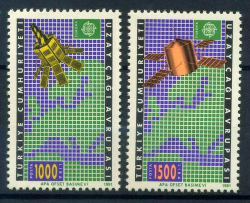 Poštovní známky Turecko 1991 Evropa CEPT, prùzkum vesmíru Mi# 2921-22 Kat 22€