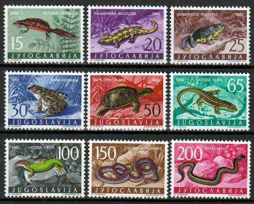 Poštovní známky Jugoslávie 1962 Obojživelníci a plazi Mi# 1007-15 Kat 25€