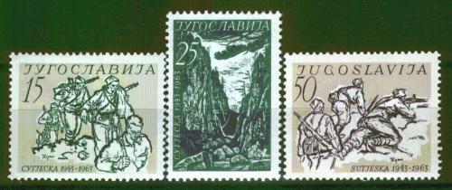 Poštovní známky Jugoslávie 1963 Bitva na Sutjesce, 20. výroèí Mi# 1046-48