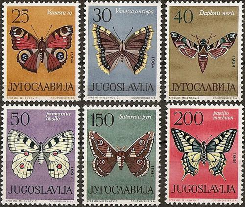 Poštovní známky Jugoslávie 1964 Motýli Mi# 1069-74 Kat 12€