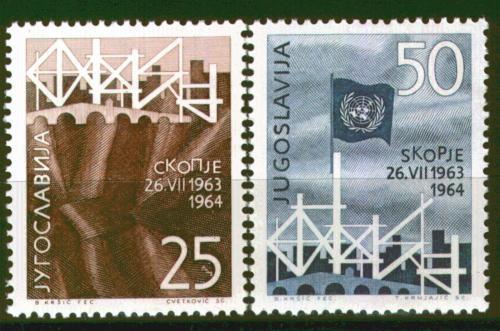 Poštovní známky Jugoslávie 1964 Zemìtøesení ve Skopje Mi# 1082-83