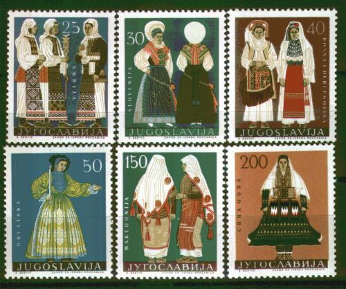 Poštovní známky Jugoslávie 1964 Lidové kroje Mi# 1085-90 Kat 10€