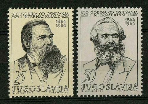 Poštovní známky Jugoslávie 1964 Karl Marx a Bedøich Engels Mi# 1091-92