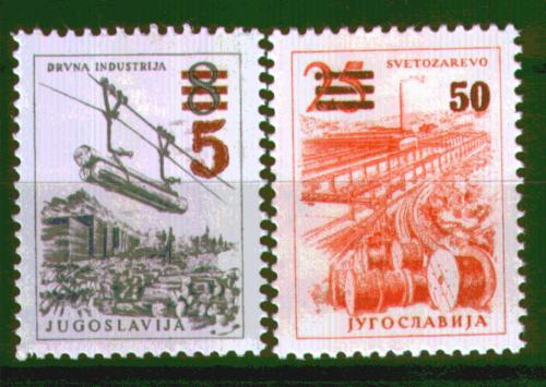 Poštovní známky Jugoslávie 1965 Technika a architektura pøetisk Mi# 1134-35