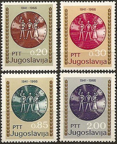 Poštovní známky Jugoslávie 1966 Boj proti okupaci Mi# 1179-82